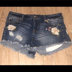 Altar'd State Jean Shorts with Flower Design NWT